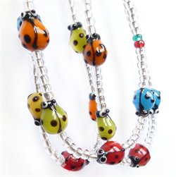 Glass lady bird necklace